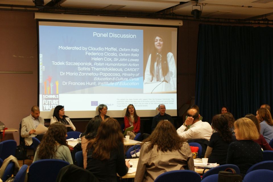 SFYouth partners during panel discussion with our guests - Helen Cox, Leading Practitioner and Teacher of Geography, Sir John Lawes School (UK) and Dr Maria Zannetou-Papacosta, School Inspectoress of Primary Education, Cyprus Ministry of Education and Culture